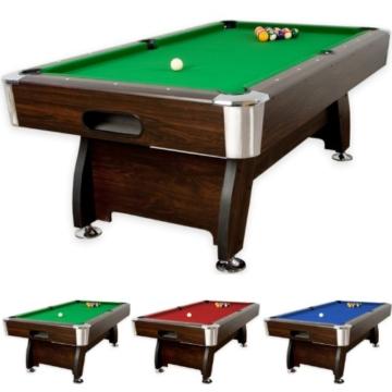 """7 ft Billardtisch """"Premium"""", dunkles Holzdekor, 3 Farbvarianten, Maße ca. 2140 x 1220 x 820 mm (LxBxH) massive Ausführung + Zubehör (2x Queue, Kugelset, Dreieck, Kreide, Bürste) Pool Billard 7 Fuß -"""