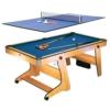Riley FP-6TT 2 in 1 Multifunktionsspieltisch Pool-Billardtisch Tischtennis (Klappsystem, Bodenrollen, Spielzubehör, Queues, Kugeln, Bälle, Schläger) buche -
